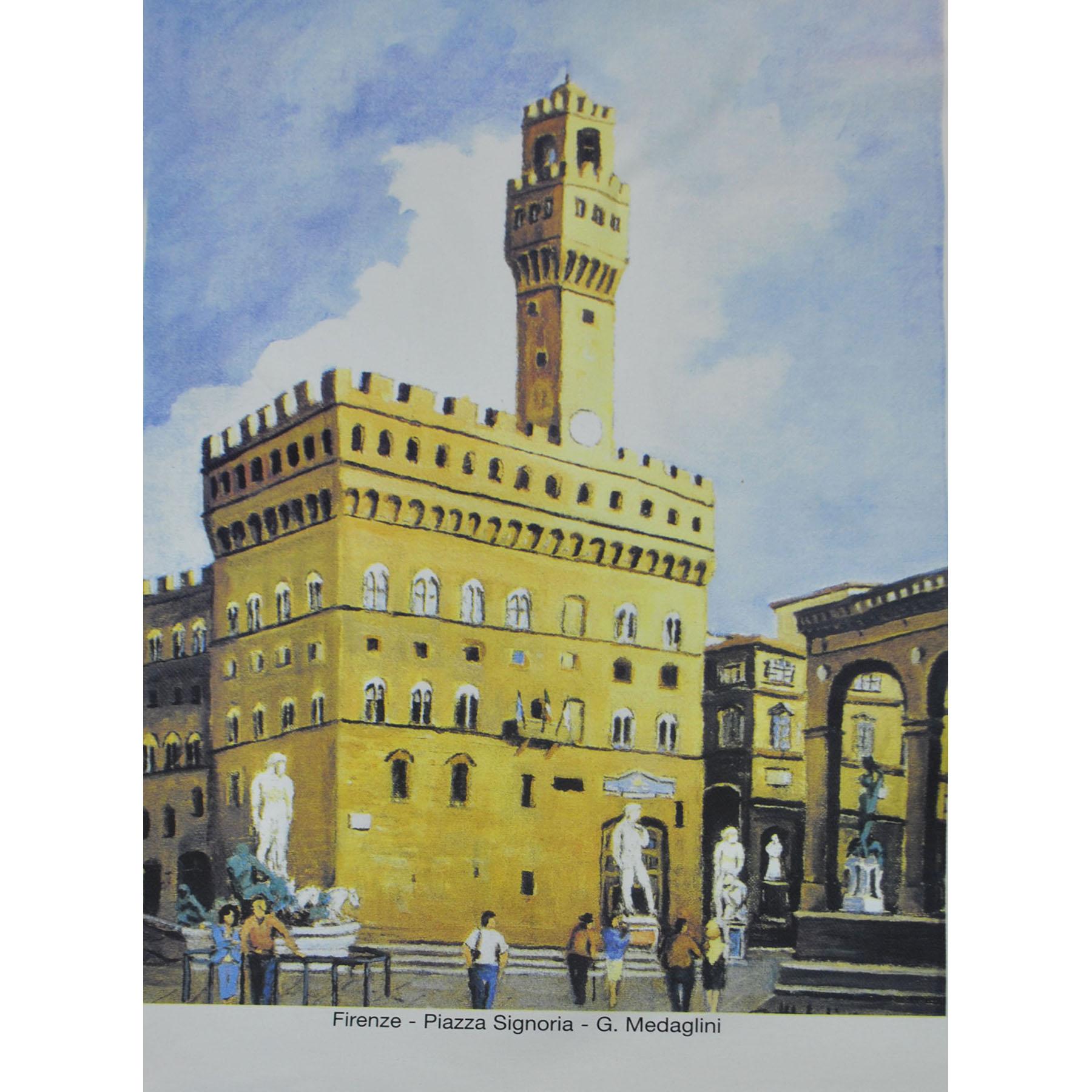 Maler Panneaux 84,5 x 63,5 cm   G. Medaglini - Florenz - Piazza Signoria