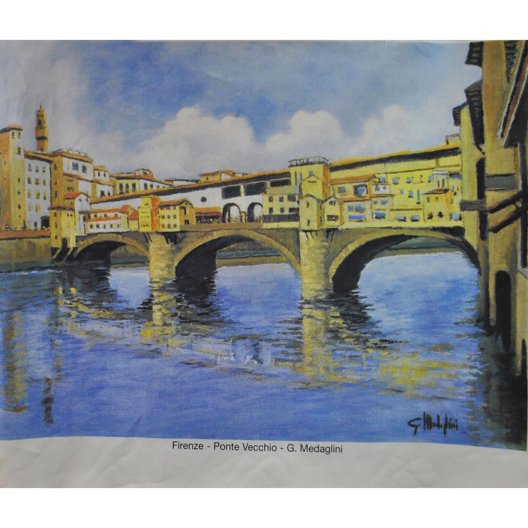 Maler Panneaux 63,5 x 84 cm   G. Medaglini - Florenz - Ponte Vecchio