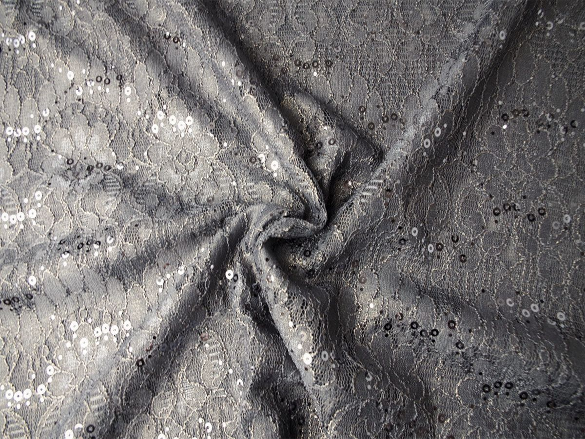 Pailetten-Spitze grau Goldschimmer